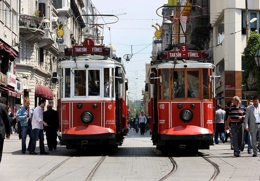 Stock Photo: 1848-163919 Trams passing through the main pedestrian zone, Istiklal Caddesi in the Boyoglu district, Sultanahmet, Istanbul, Turkey