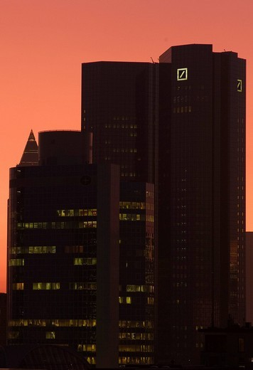 Frankfurt´s skyline in the evening light, Frankfurt, Hesse, Germany, Europe : Stock Photo