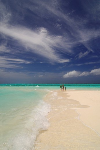 Woman and two children on the beach, Laguna Resort, The Maldives, Indian Ocean : Stock Photo