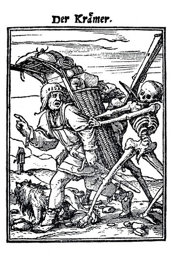 Stock Photo: 1848-164186 Woodcut, The Pedlar, Hans Holbein the Younger, Dance of Death, 1538