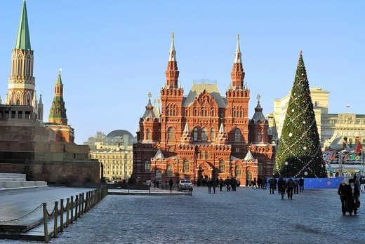 Stock Photo: 1848-164250 Historical Museum and Lenin tomb on the Red Square, Moscow, Russia