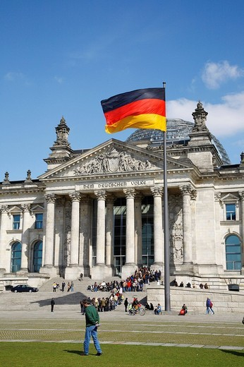 Flag on the Reichstag parliament in Berlin, Germany, Europe : Stock Photo