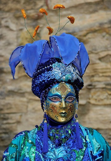 Life in the Baroque period of the 18th Century, Venetian mask Blue Flower, Schiller Jahrhundertfest century festival, Marbach am Neckar, Baden_Wuerttemberg, Germany, Europe : Stock Photo