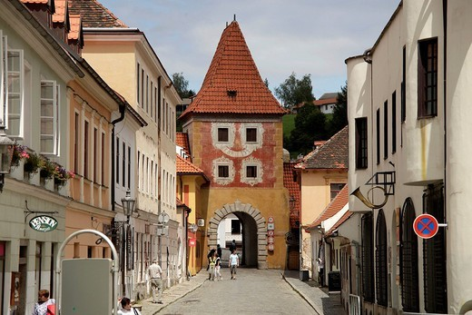 Tower and town gate in the historic centre of &268,eský Krumlov, Czech Republic, Europe : Stock Photo