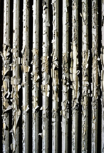 Old tube radiator made of cast iron with several layers of peeling paint, renovation, Duisburg, North Rhine_Westphalia, Germany, Europe : Stock Photo
