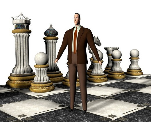 Stock Photo: 1848-164905 Businessman with chessboard