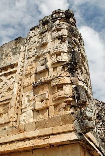 Chaak masks, Maya archeological site Uxmal, Yucatan, Mexico : Stock Photo