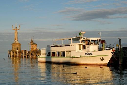 Excursion ship Moewe in the port of konstanz_ Konstanz, Baden Wuerttemberg, Europe. : Stock Photo
