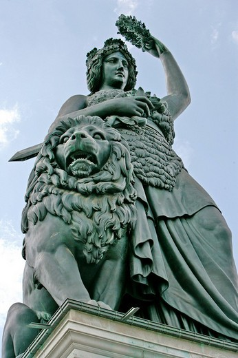 Stock Photo: 1848-165106 Bavaria statue from below, Munich, Bavaria, Germany