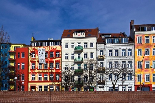 Stock Photo: 1848-165577 Colourful building facades, St. Pauli district, Hamburg, Germany, Europe