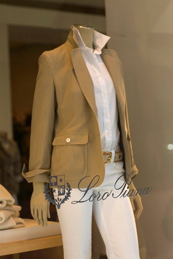 Female mannequin in the window display of the Loro_Piana fashion boutique on the Maximilianstrasse, Munich, Bavaria, Germany : Stock Photo