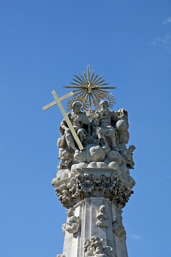 Stock Photo: 1848-165833 Holy Trinity column with holy figures, 14m high, detail, St Matthews church, baroque plague column, memorial to the plague of 1691, Budapest, Hungary, Europe