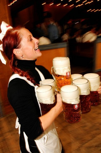 Stock Photo: 1848-165971 Waitress, Wies´n, October fest, Munich, Bavaria, Germany, Europe