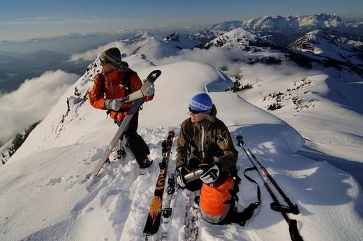 Stock Photo: 1848-166088 Ski hikers on a tour to the peak of Mount Brechhorn, view of Wilder Kaiser Range, Spertental Valley, Tyrol, Austria, Europe