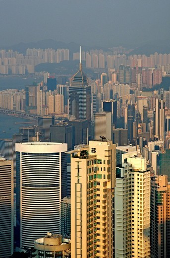 View from Victorea Peak over Central, Hong Kong Island, Hong Kong, China, Asia : Stock Photo