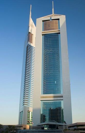 Emirate Towers and hotel, Dubai, United Arab Emirates, Middle East : Stock Photo