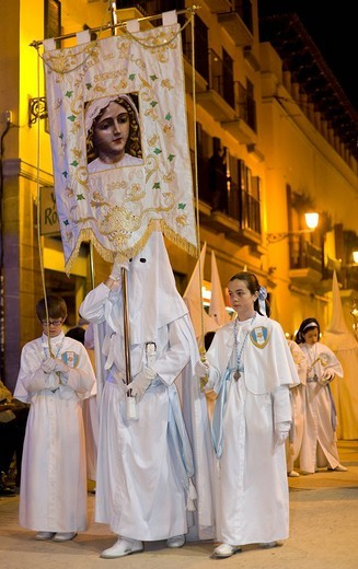 Large procession on Maundy Thursday, Palma de Majorca, Balearic Islands, Spain, Europe : Stock Photo