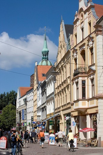 Shopping street, Ossenreyerstrasse street, Stralsund, Baltic Sea, Mecklenburg_Western Pomerania, Germany, Europe : Stock Photo