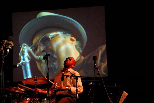 Stock Photo: 1848-167143 San Francisco Jazz Collective: Eric Harland. Joe Lovano in the background_projection