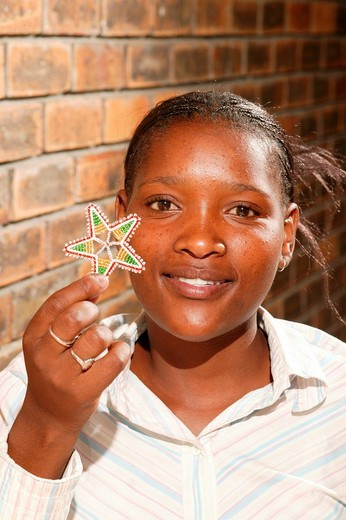 Stock Photo: 1848-167232 Bead embroiderer producing Christmas decorations, Cape Town, South Africa