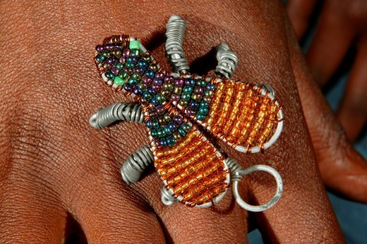 Stock Photo: 1848-167233 Hand with decoration made of glass beads, bee, Cape Town, South Africa