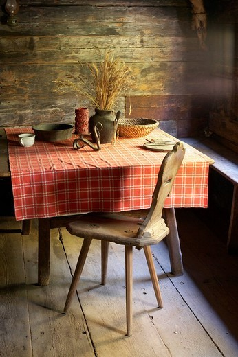 Table, Maria Saal open air museum, Carinthia, Austria : Stock Photo