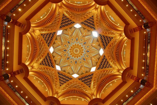 Main dome, Emirates Palace Hotel 42_metre diameter, 60 metres tall, Abu Dhabi, United Arab Emirates, Asia : Stock Photo