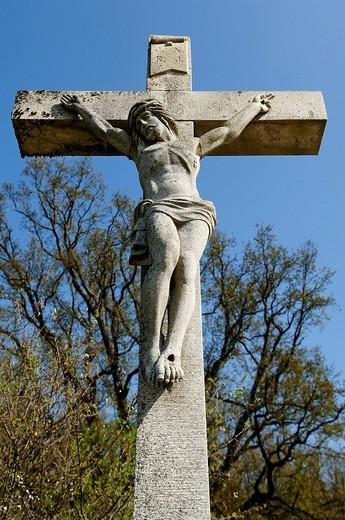 Crucifix made of stone, Bammersdorf, Upper Franconia, Bavaria, Germany, Europe : Stock Photo
