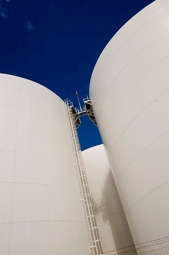 Storage tanks of the Company Unitank for fuel oil and diesel fuel, Berlin, Germany, Europe : Stock Photo