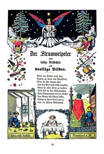 Book illustration, Der Struwwelpeter, Shaggy Peter, Dr. Heinrich Hoffmann, 1876 : Stock Photo