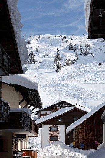 Stock Photo: 1848-168312 View of Zuers and a skiing slope, Vorarlberg, Austria