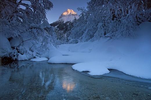 Ampelsbach creek in front of Guffert Mountain in winter, Brandenberg Alps, North Tyrol, Austria, Europe : Stock Photo
