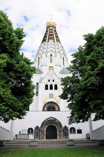 Russian ST. ALEKSIJ Memorial Church, Leipzig, Saxony, Germany, Europe : Stock Photo