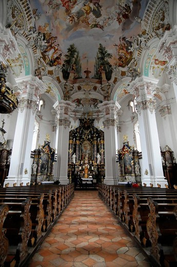 Interior, Pilgrimage Church in Steinhausen, built by the Zimmermann brothers 1728_1731, Steinhausen, Baden_Wuerttemberg, Germany, Europe : Stock Photo