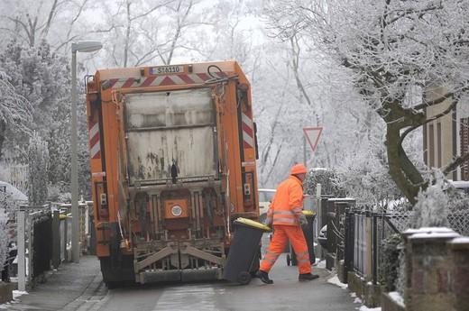 Garbace truck in winter : Stock Photo