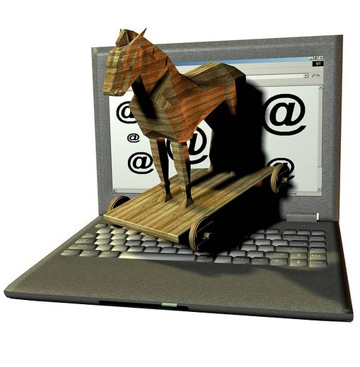 Danger of infection by trojan horses and computervirus through the internet : Stock Photo