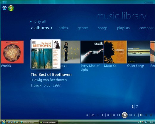 Stock Photo: 1848-168925 Microsoft Windows Vista, english version, Media Center User Interface, Music Library, screenshot