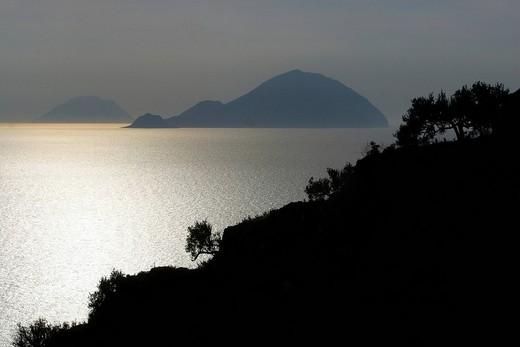 Stock Photo: 1848-169006 Salina with Filicuti and Alicuti, Liparian islands, Sicily, province of Messina, Italy