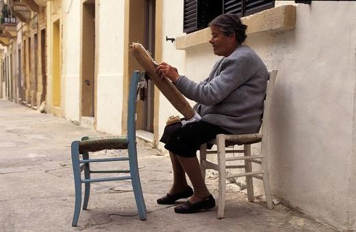 Traditional making of lace in Victoria, Gozo island, Malta : Stock Photo