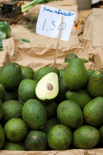 Stock Photo: 1848-169439 Avocados for sale at an indoor market in Funchal, Madeira, Portugal, Europe