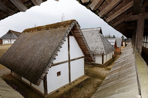 Open_air museum Heuneburg, reconstruction of a celtic settlement, Herbertingen_Hundersingen, Riedlingen, Upper Schwabia, Baden_Wuerttemberg, Germany, Europe : Stock Photo