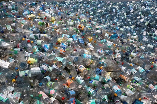 Plastic recycling, PET bottles and plastic rubbish are shredded and pressed, Essen, North Rhine_Westphalia, Germany, Europe : Stock Photo