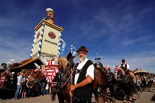Stock Photo: 1848-169970 Opening ceremony, entering of the breweries, Wies´n, October fest, Munich, Bavaria, Germany, Europe