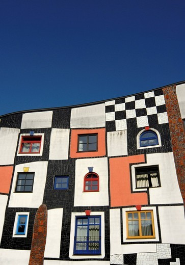 Detail of facade of Kunsthaus, Art House, building at Rogner Thermal Spa and Hotel Complex, designed by Friedensreich Hundertwasser in Bad Blumau, Austria, Europe : Stock Photo