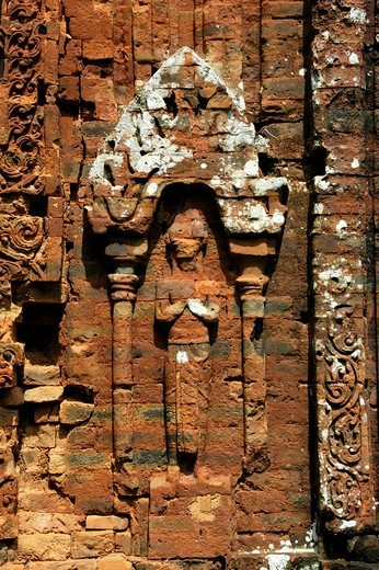 Fine art relief in brick depicting a Hindu god, Cham temple area, group B and C, My Son, Vietnam, Southeast Asia : Stock Photo