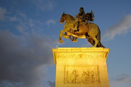 Equestrian statue Philipp lV, Felipe, monument, Plaza de Oriente, evening light, Madrid, Spain, Europe : Stock Photo