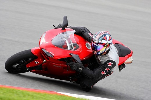 Stock Photo: 1848-170154 Motorcycle, Ducati 1098, panning