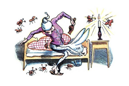 Book illustration, May beetles annoying Uncle Fritz in bed, Max and Moritz, A Story of Seven Boyish Pranks, Heinrich Christian Wilhelm Busch, 1865 : Stock Photo