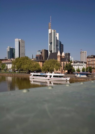 Stock Photo: 1848-170397 Skyline of the financial center with headquarters of Commerzbank AG, Frankfurt am Main, Hesse, Germany, Europe