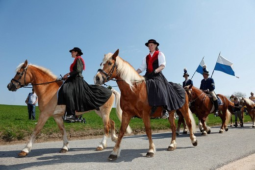 Georgiritt, George´s Ride, Easter Monday procession, Traunstein, Chiemgau, Upper Bavaria, Bavaria, Germany, Europe : Stock Photo